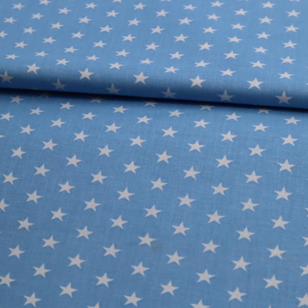 Bavlnená látka Biele hviezdičky na modrom 140cm