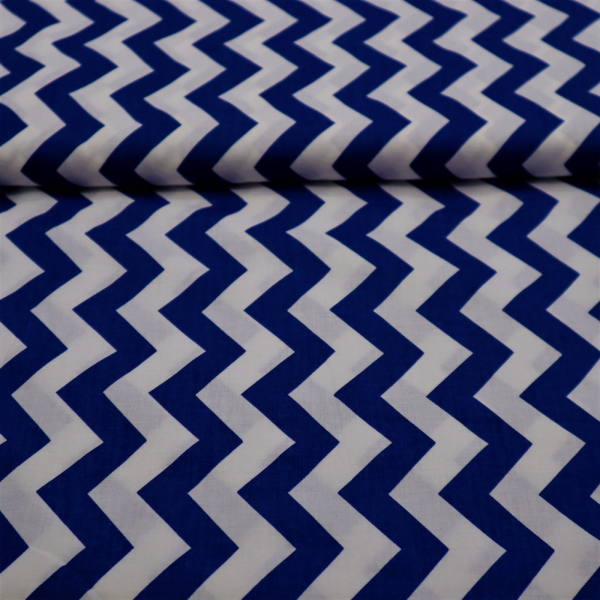 Bavlnená látka Cik-Cak modrá 160cm