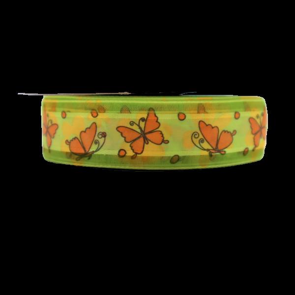 Stuha s motýľmi 2,5 cm